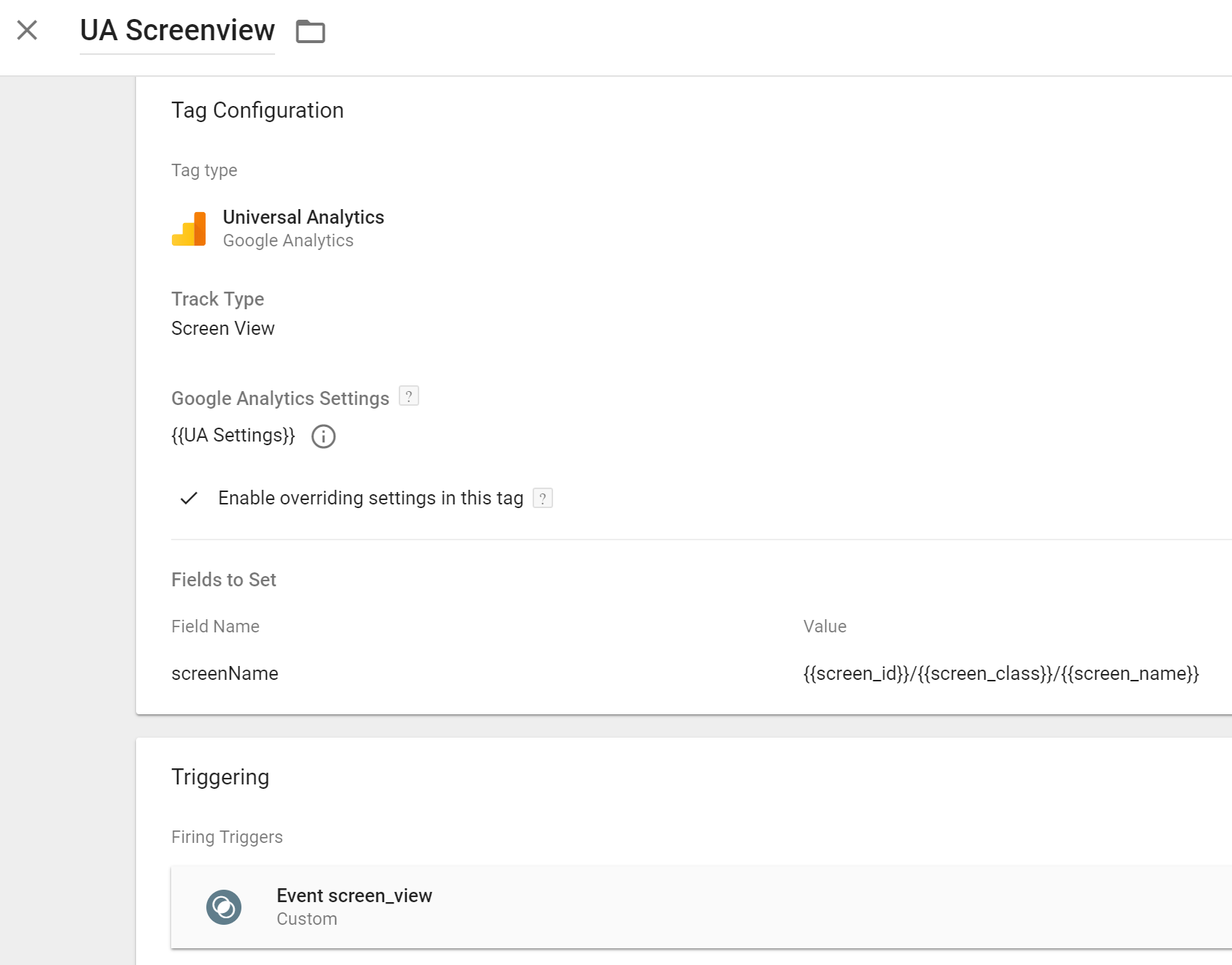 gtm firebase ga legacy screen view tag